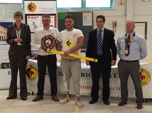 Senior heat winner, Charlie Young, receives his awards from (left to right) Alison Birkinshaw principal, York College, Guy Armitage, York Handmade Bricks, sponsor, Charlie Young, Richard Urwin, Mitchell and Urwin, sponsor and Andrew Bannister, Yorkshire section guild chairman
