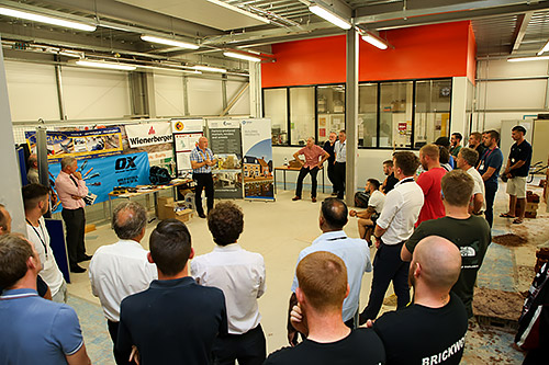 Guild of Bricklayers president, Phil Vine Roberts, addresses the finalists and guests of the guild�s 2017 competition at Derby College.